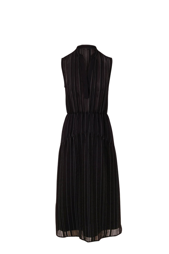 Vince Black & Optic White Stripe Drapey Tiered Dress