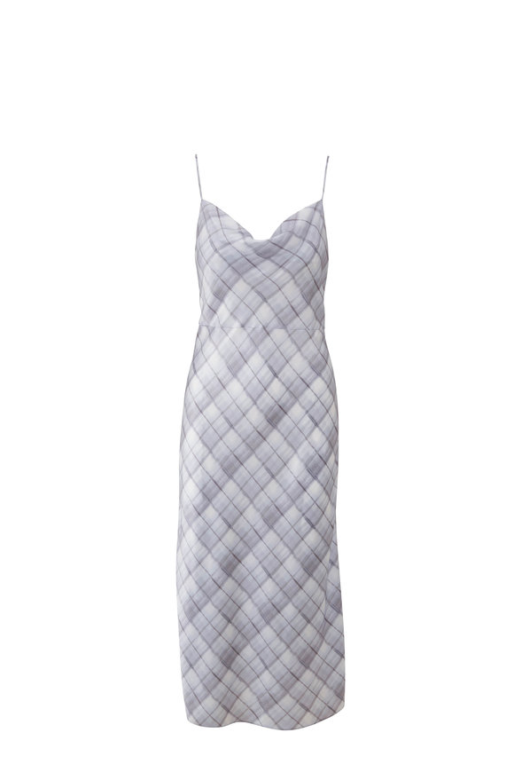 Vince Powder Blue Hazy Plaid Sleeveless Slip Dress