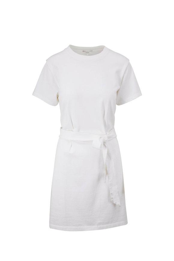 Vince Optic White Short Sleeve Waist Tie Dress