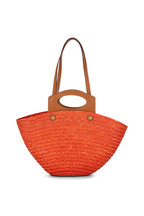 Tod's - Orange Straw & Leather Medium Basket Tote