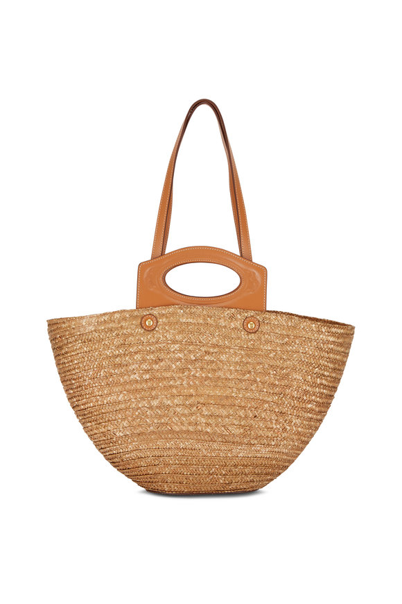 Tod's Tan Straw & Leather Medium Basket Tote