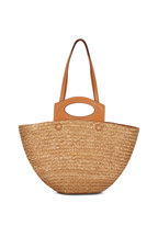 Tod's - Tan Straw & Leather Medium Basket Tote