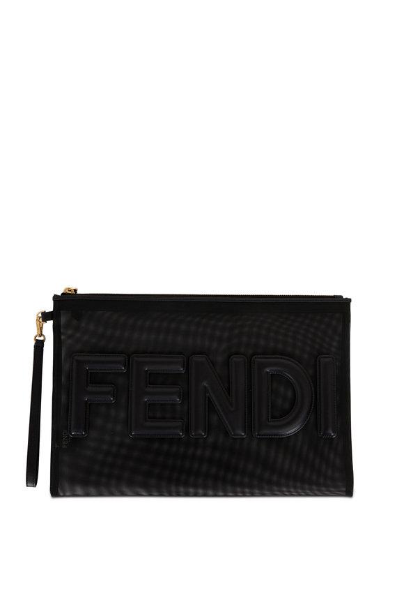 Fendi Black Mesh & Leather Logo Pouch