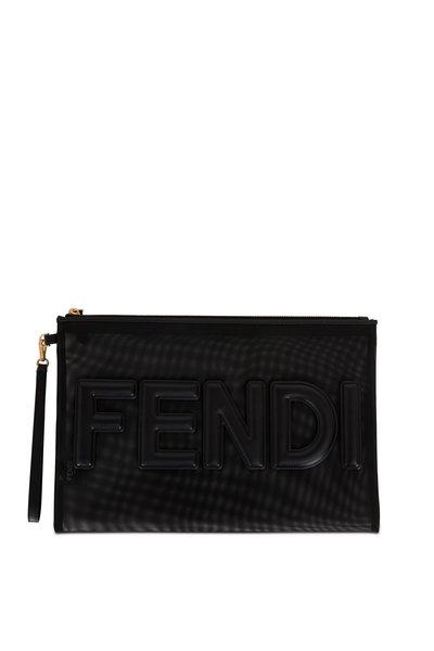 Fendi - Black Mesh & Leather Logo Pouch