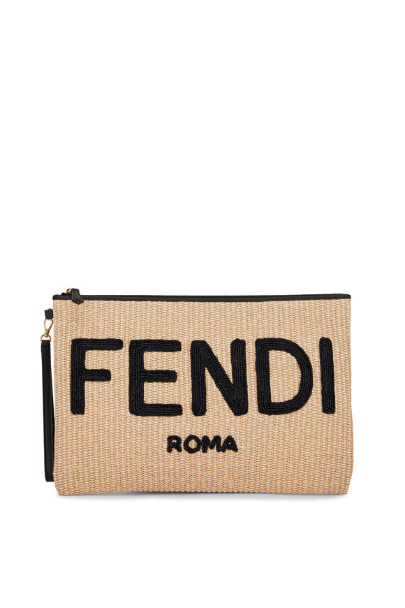 Fendi Natural Straw Logo Zip Large Pouch