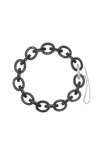 Nam Cho - White Gold Sapphire Diamond Chain Link Bracelet