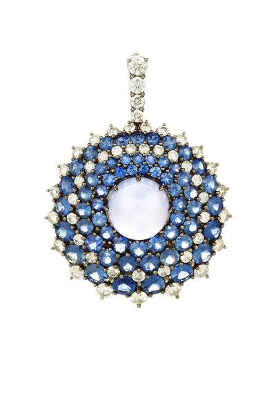 Nam Cho - Gold Chalcedony Sapphire Diamond Sunburst Pendant