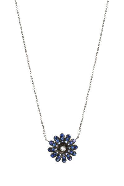 Nam Cho - White Gold Sapphire Diamond Daisy Pendant Necklace
