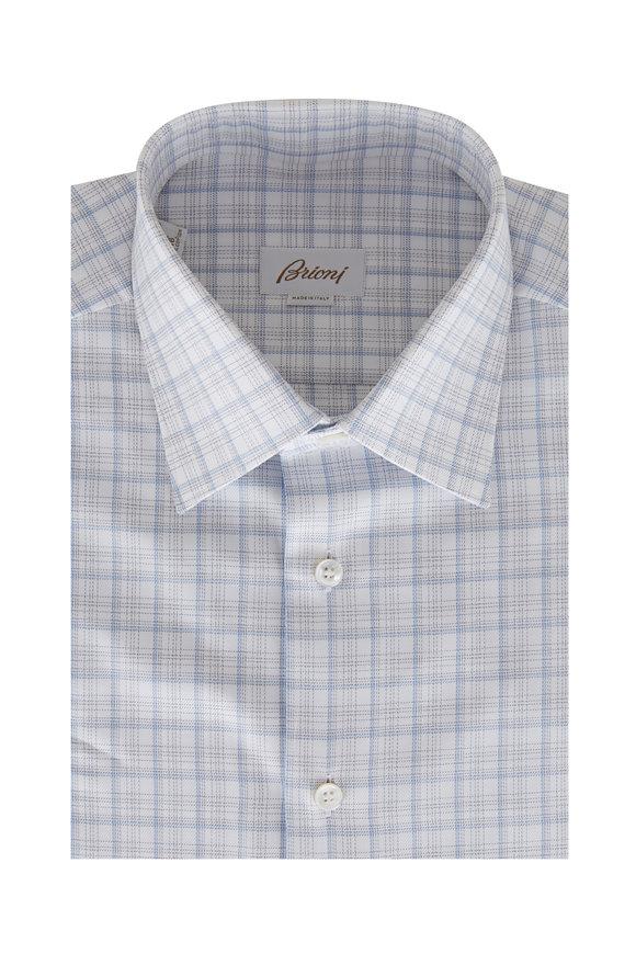 Brioni White & Blue Grid Print Sport Shirt