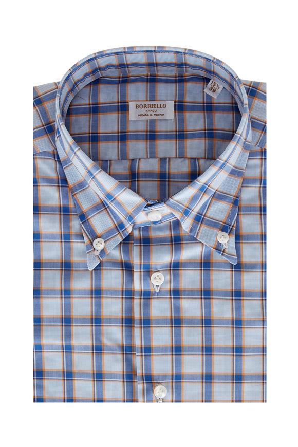 Borriello Blue & Orange Plaid Sport Shirt