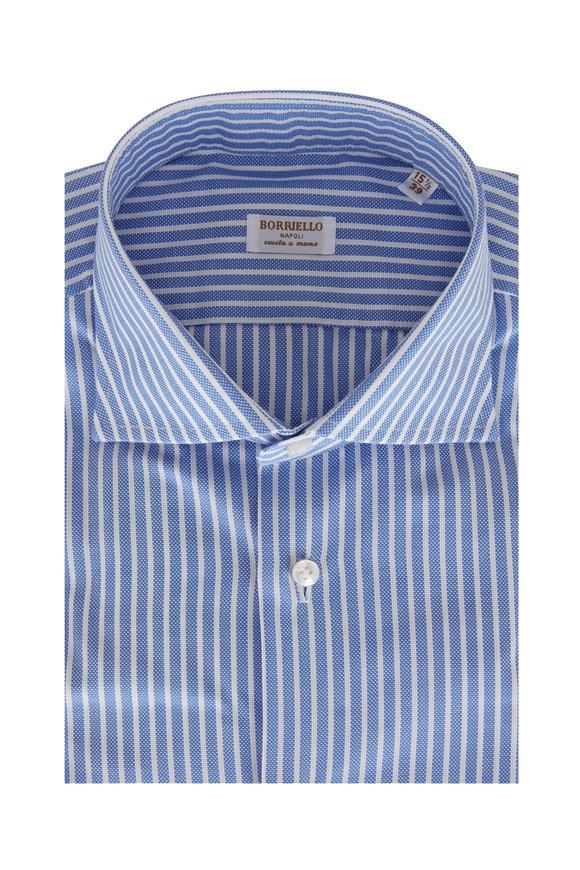 Borriello Blue & White Stripe Textured Sport Shirt