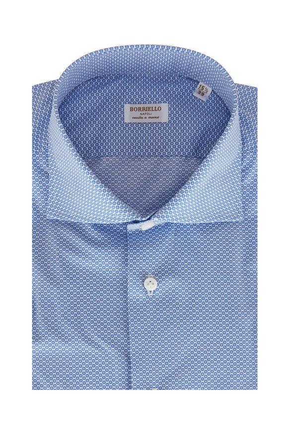 Borriello Blue Geometric Print Sport Shirt