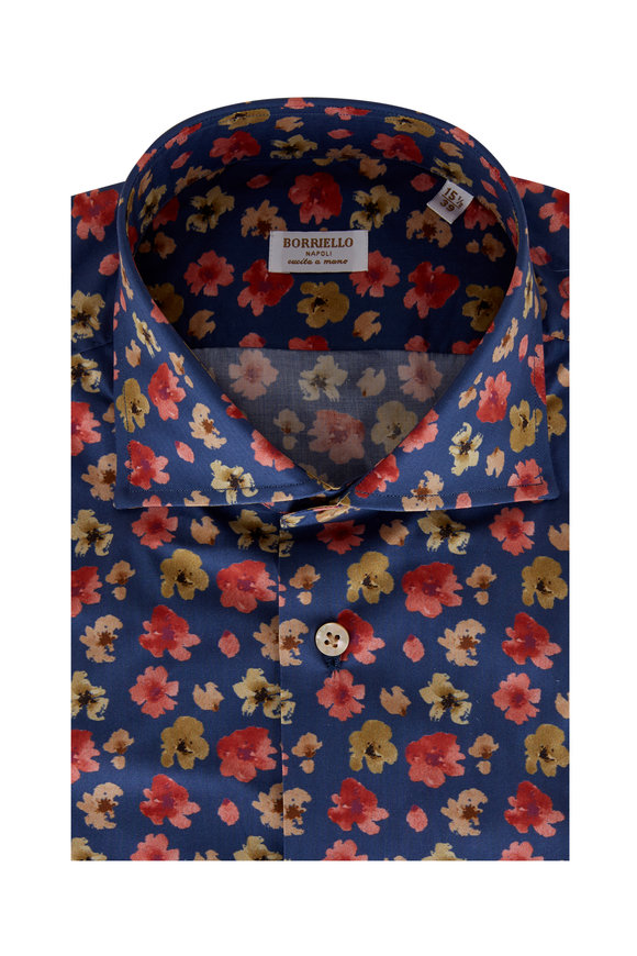 Borriello Cranberry & Tan Floral Print Sport Shirt