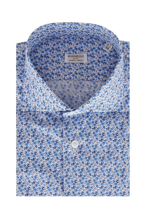 Borriello Blue & White Micro Floral Print Sport Shirt