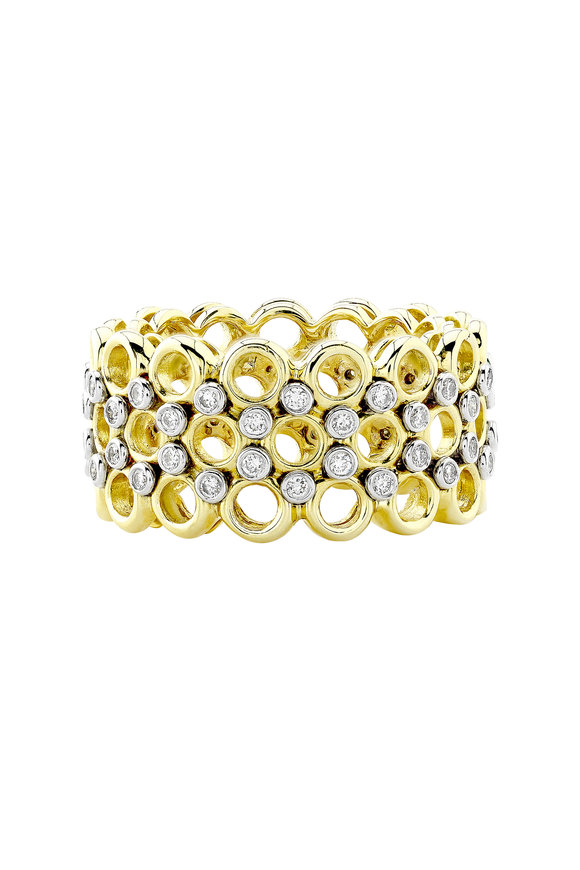 Aaron Henry Season's Yellow Gold Three Row Diamond Ring