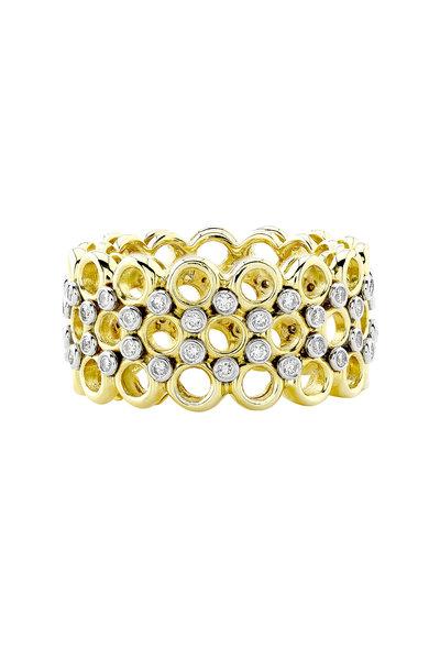 Aaron Henry - Season's Yellow Gold Three Row Diamond Ring
