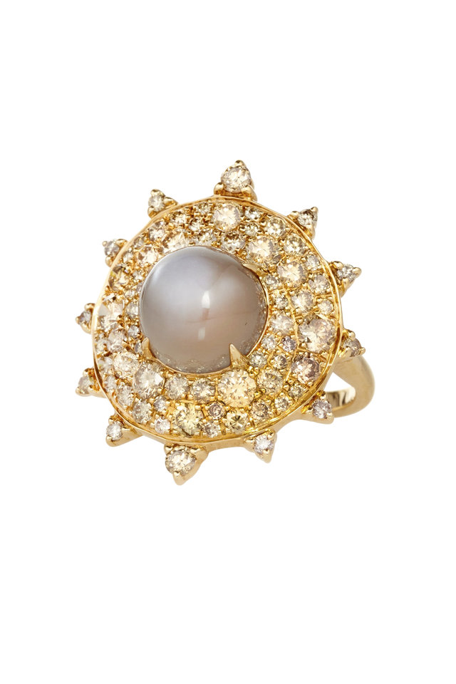 Gold Grey Moonstone Diamond Bullseye Ring
