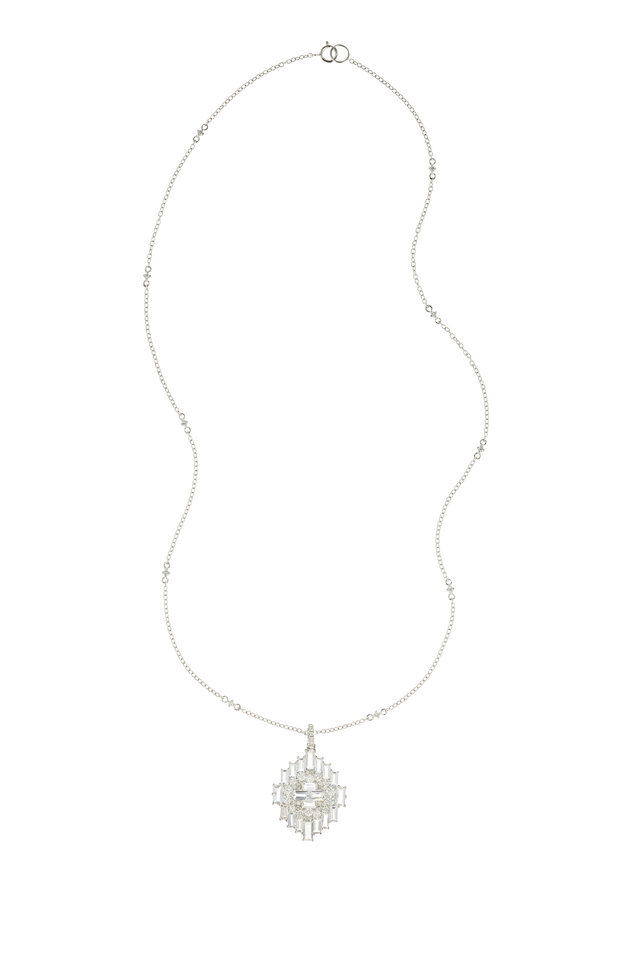 18K White Gold White Sapphire & Diamond Necklace