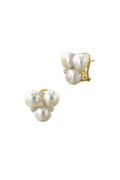 Aaron Henry - Gold & Platinum Triple Pearl Diamond Earrings