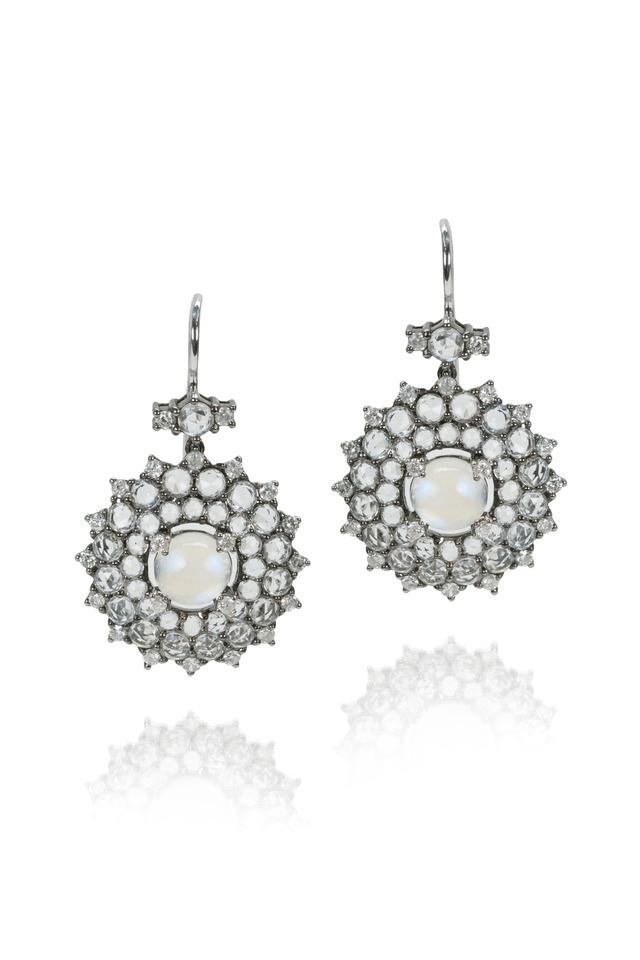 White Sapphire Moonstone Sunburst Earrings