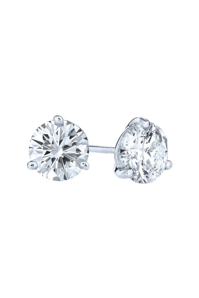 Platinum White Diamond Stud Earrings