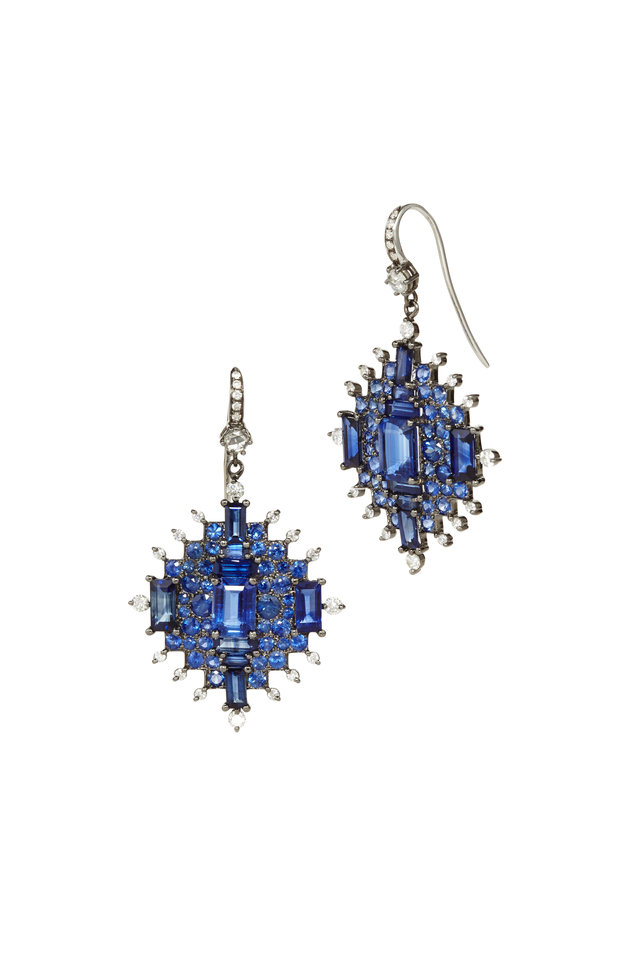 18K WHITE GOLD SAPPHIRE BAGUETTE EARRINGS