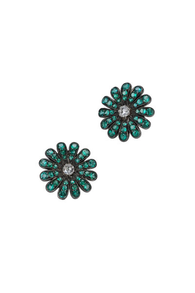 Nam Cho - White Gold Emerald Diamond Daisy Earrings