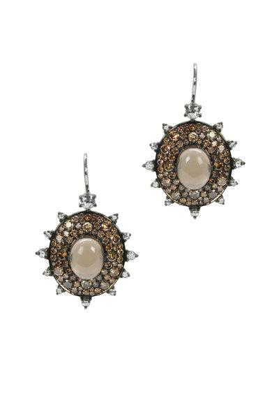 Nam Cho - Gold Smokey Quartz Diamond Bullseye Earrings