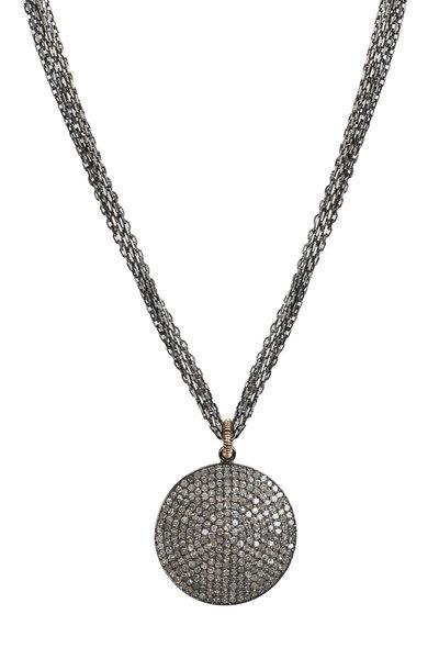Dana Kellin - Gold Pavé-Set Round Diamond Pendant Necklace