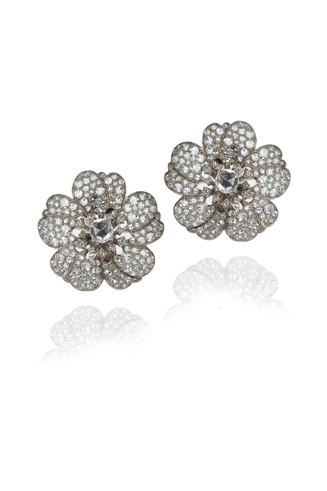 White Gold Round-Cut Diamond Flower Earrings