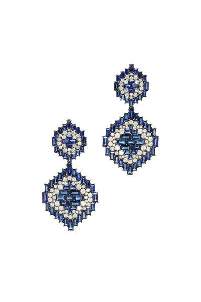 Nam Cho - White Gold Blue Sapphire Diamond Dangle Earrings