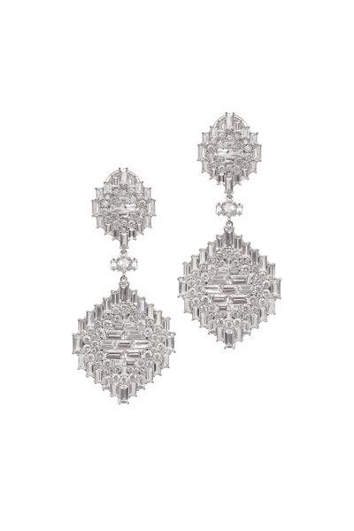 Nam Cho - White Gold White Sapphire Diamond Navajo Earrings