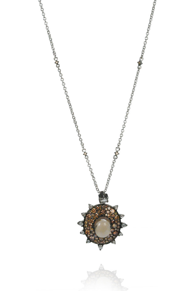 Bullseye Smokey Quartz Diamond Pendant Necklace
