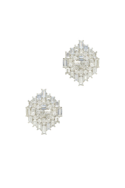 Nam Cho - White Gold White Sapphire Diamond Earrings