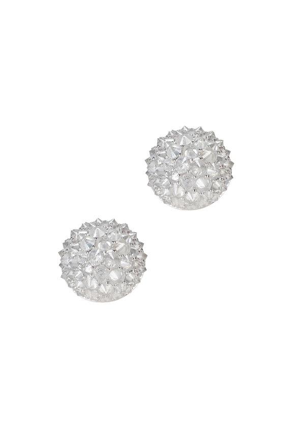 Nam Cho White Gold White Diamond Stud Earrings