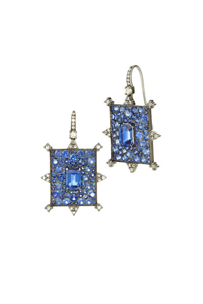 Nam Cho - Gold Rectangle Sapphire & Diamond Drop Earrings