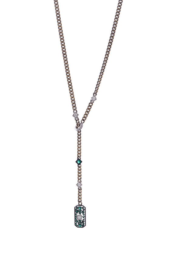 Mariani Yellow Gold Art Deco Diamond & Emerald Necklace