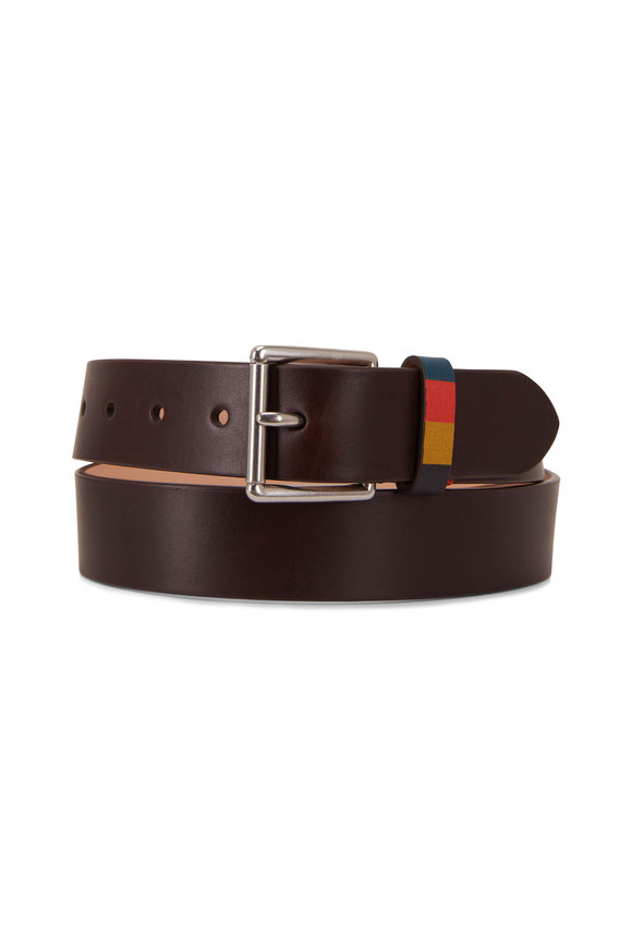 Paul Smith Brown Leather Stripe Keeper Belt