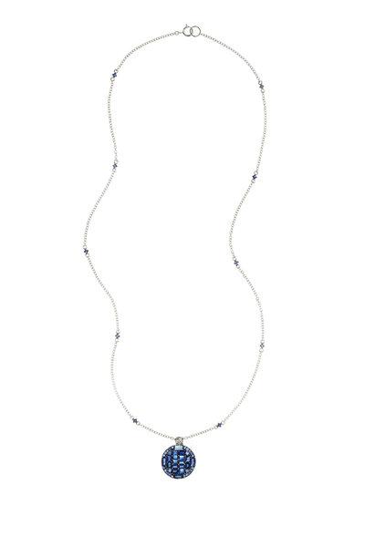 Nam Cho - 18K White Gold Blue Sapphire & Diamond Necklace