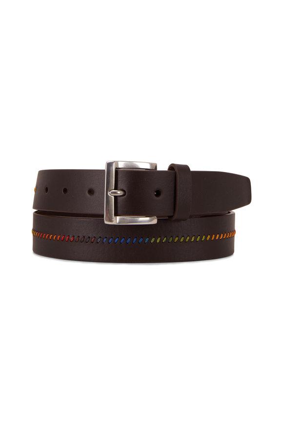 Paul Smith Brown Leather & Rainbow Thread Belt