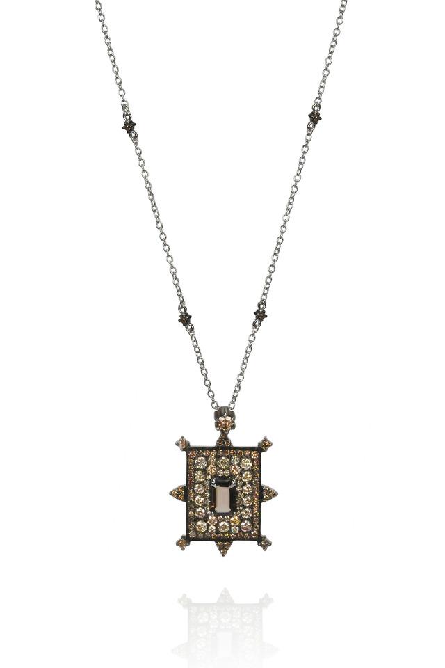 18K White Gold Smokey Quartz & Diamond Necklace