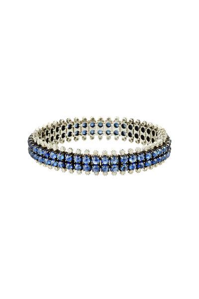 Nam Cho - White Gold Blue Sapphire White Diamond Bracelet