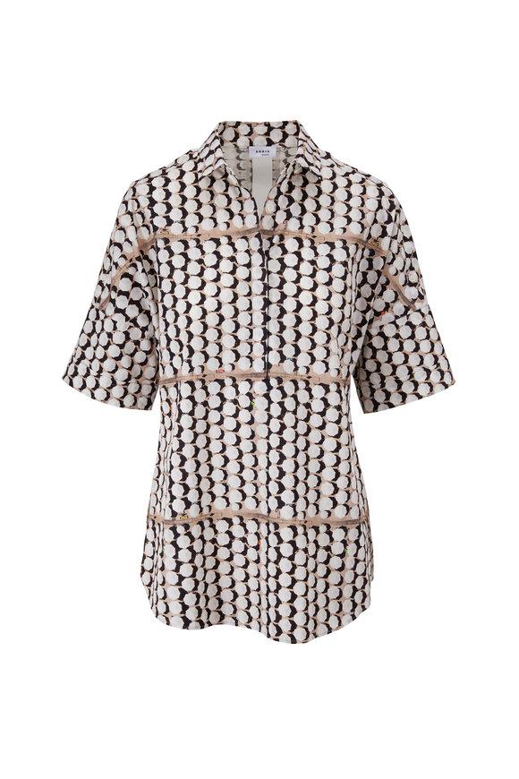 Akris Punto Multicolor Umbrella Print Short Sleeve Shirt