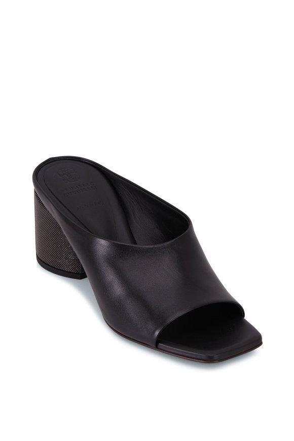Brunello Cucinelli City Black Leather Monili Heel Slide, 60mm