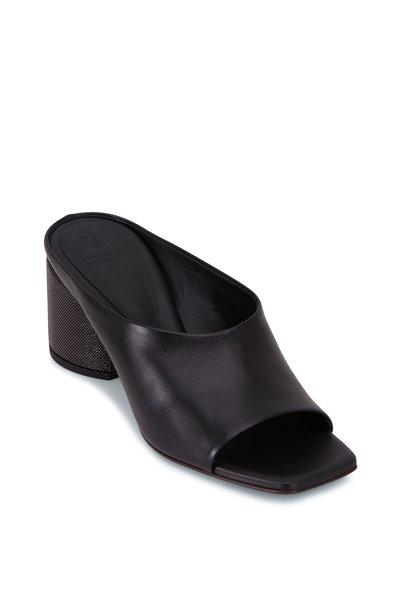 Brunello Cucinelli - City Black Leather Monili Heel Slide, 60mm