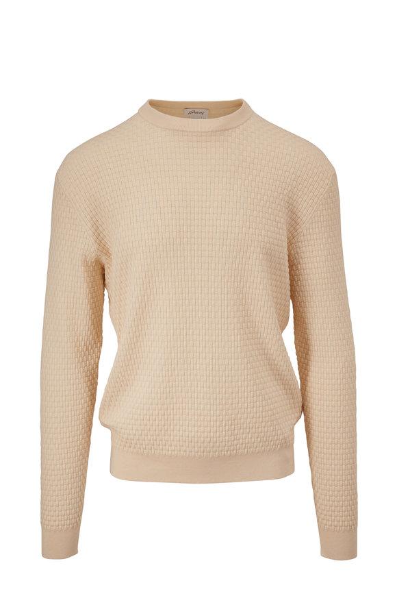 Brioni Cream Waffle Knit Crewneck Pullover