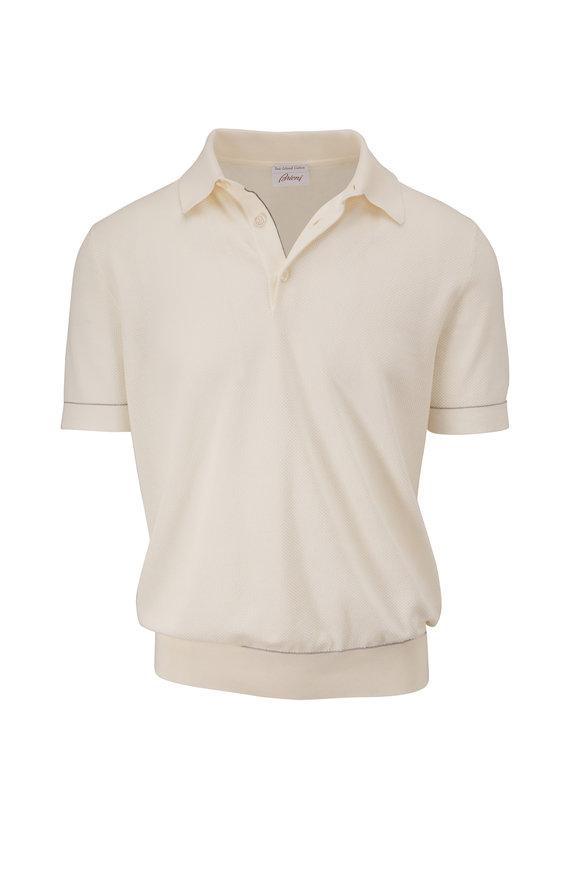 Brioni White Sea-Island Cotton Short Sleeve Polo