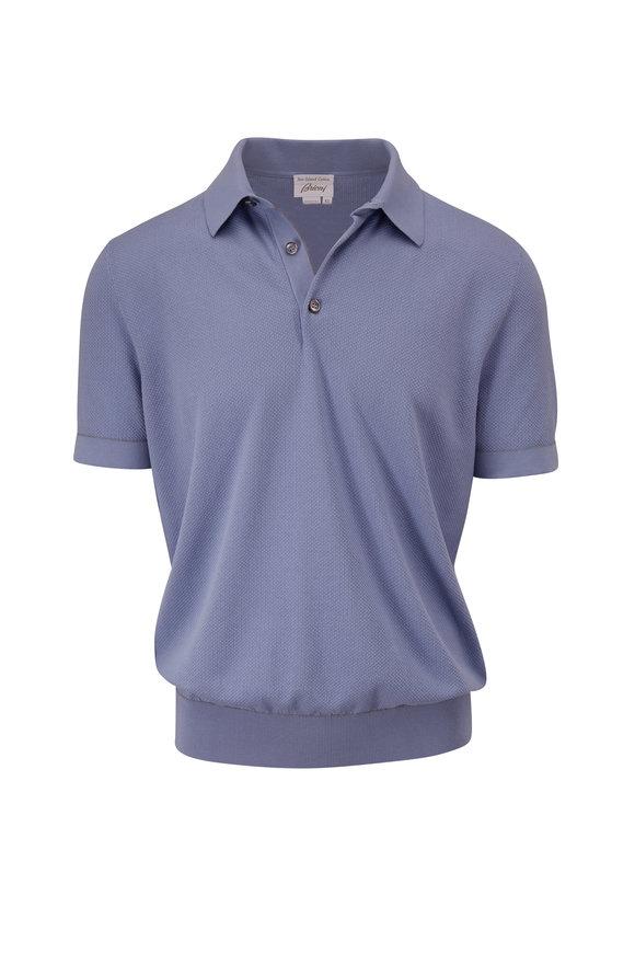 Brioni Light Blue Sea-Island Cotton Short Sleeve Polo
