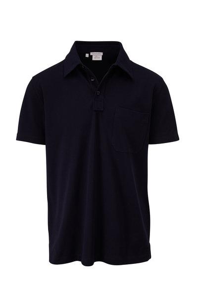 Brioni - Navy Piqué Pocket Polo