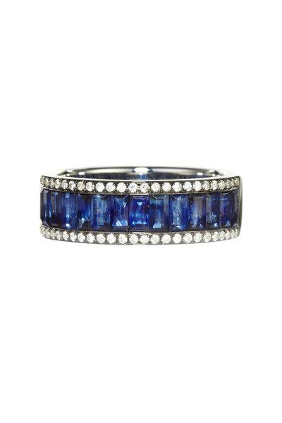 Nam Cho - 18K White Gold Baguette Sapphire & Diamond Ring